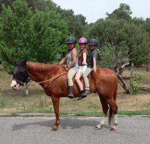 A quick bareback ride on Barney